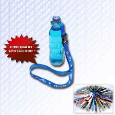 Lanyard cordon publicitaire porte bouteille en tour de cou