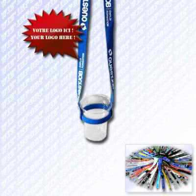 Lanyard cordon publicitaire porte gobelet réutilisable en tour de cou